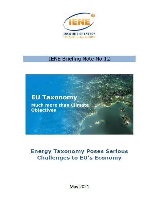 IENE Briefing Note No 12 - Energy Taxonomy Poses Serious Challenges to EU's Economy