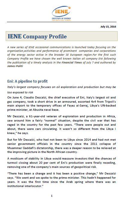 IENE Company Profile No1 - ENI
