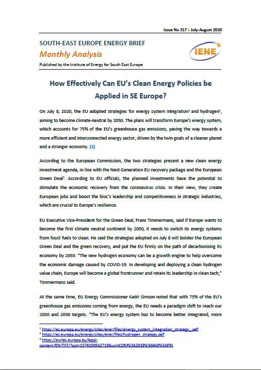 """South-East Europe Energy Brief """"Monthly Analysis"""""""